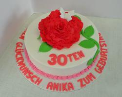 Red Fondant Rose Cake