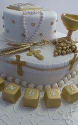 White/Gold Confirmation Cake
