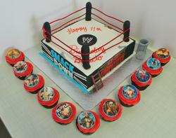 Wrestling themed birthday cake