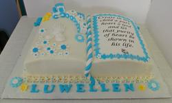 Boys bible baptism cake