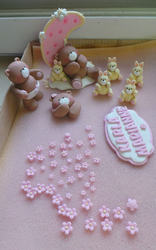 Teddy bears and bunny fondant toppers