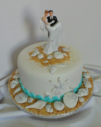 Sea themed one tier wedding cake