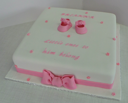 Girls baptism cake with booties