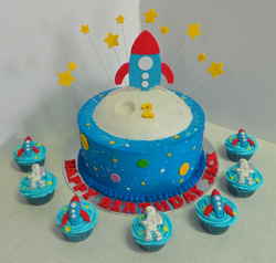 Space Ship & moon themed birthday cake