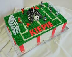 Soccer themed sheet birthday cake