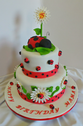 75th Ladybug themed birthday cake