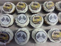 Matching racing themed cupcakes