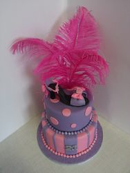 21st Birthday Cake with Fondant High Heel Topper