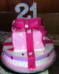 21st Round & Square 2tier with fondant ribbon