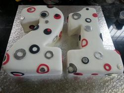 Nr 21 themed cake with dots