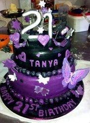 21st Chocolate cake with black and purple fondant