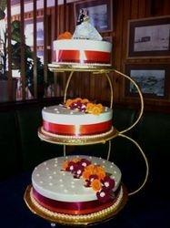 3tier Wedding cake with Orange and Mahroon fondant flowers