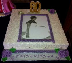 60th Birthday cake with purple flowers