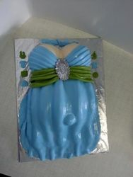 Belly themed cake with blue dress