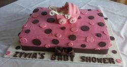 Baby shower themed cake with fondant pram