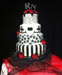 4tier Black, Red and White wedding cake