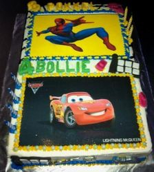 Cars and Spidermann sheetcake