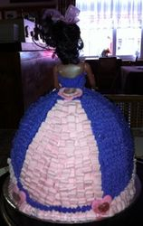 Doll cake with pink and purple