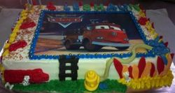 Firetruck Sheetcake with fondant decor