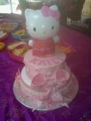 Hello Kitty with frills and bow- birthday cake