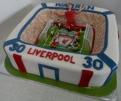 Liverpool themed soccerstadium cake