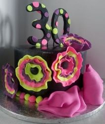 Neon-flowers on  cake for 30th Birthday