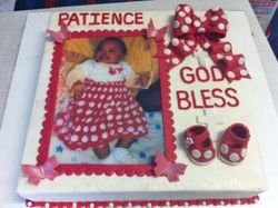 Red and White themed christening cake