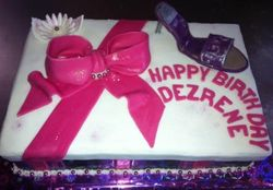 Shoebox cake with Purple and Cerisie Stippes and Bow
