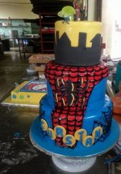 3tier spiderman themed cake