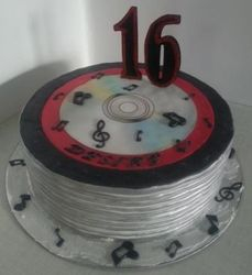 Stacked CD themed cake for 16th Birthday