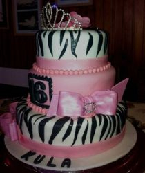 Sweet 16th Cake with pink and zebra stripes