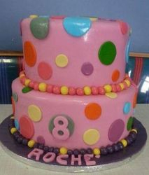 Pink 2tier cake with colourful dots