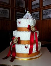 3tier Gold and Red Wedding cake