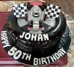 Racing car on big Tyre