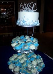 Seashell Themed Wedding Cake with matching cupcakes