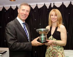 Andy Green Presents Amanda with the Hillwood Coupe des Dames Trophy