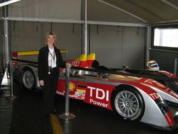 Amanda and Audi R10 Le Mans car