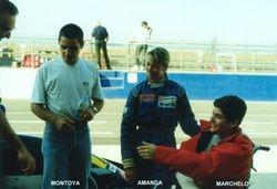 Amanda and Formula Vauxhall friends futre F1 driver Juan Pablo Montoya and future sportscar racer Marcello Battastuzzi
