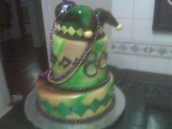 Topsy -turvy Mardi Gras Cake