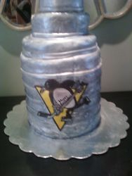 Penguins- Beat-up Stanley cup Cake