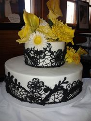 Hand piped chocolate wedding cake
