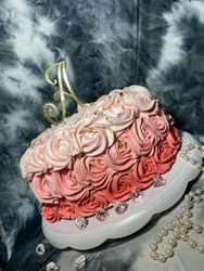 Pink & Gold Ombre Rosette Cake