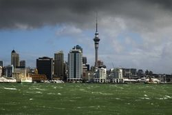 Auckland during a storm