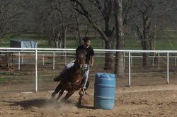 Barrel practice in outdoor arena