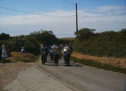 BUDE TOWN BAND MARCHING AT MORWENSTOW FESTIVAL