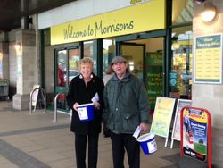 Margaret and Michael collection outside Morrisons