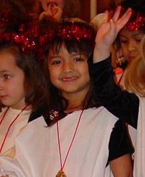 Meleanna as angel in school Christmas pageant