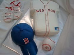 Red sox cake with matching cookies