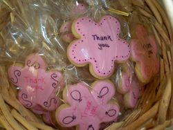 pink flower cookie favors