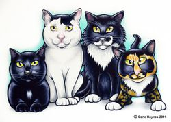 4 cat caricature.